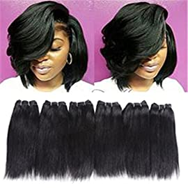 6 Bundles Extensions Hair Straight Human Hair Weave Bundles Virgin Brailian Hair 50g/pcs