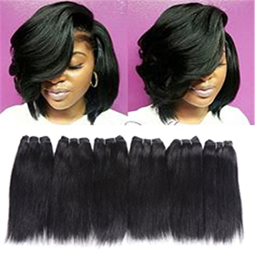 - 6 Bundles Extensions Hair Straight Human Hair Weave Bundles Virgin Brailian Hair 50g/pcs