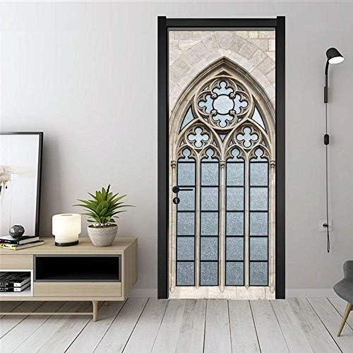 skwff etiqueta de la puerta el arte 3D arte moderno PVC habitación niño decoración del hogar Arcos europeos arquitectura retro creativa sala de estar cocina baño: Amazon.es: Bricolaje y herramientas