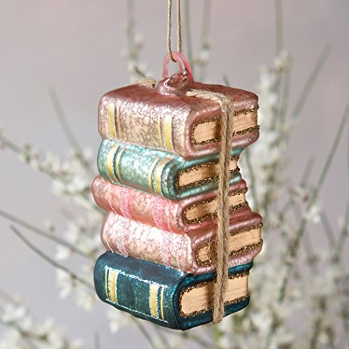 180 Degrees Glass Book Stack Ornament (Christmas Book Ornaments)