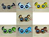 20mm Colorful Safety Eyes Plastic Doll Eyes - Clear / White / Yellow / Golden / Grass Green / Blue / Brown - 1 Pair of Each Color
