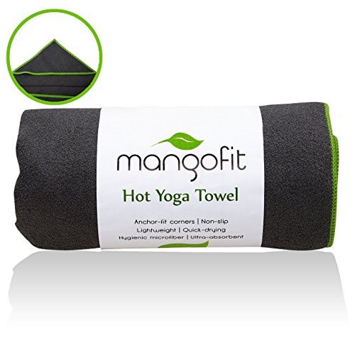 MangoFit Premium Hot Yoga Towel With Anchor Fit Corners-100% Hygienic Microfiber Fast Absorbent Non-Slip Yoga Towel- Great For Pilates & Gym!