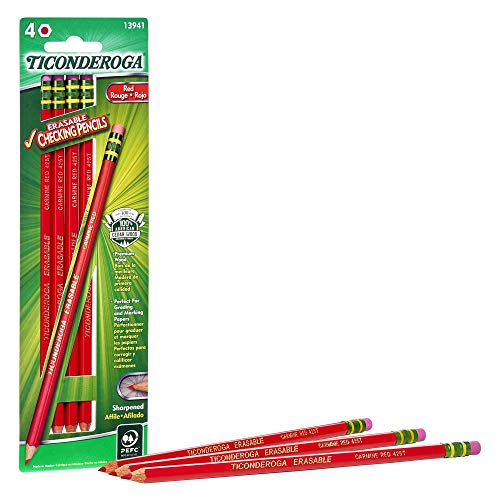 TICONDEROGA Erasable Checking Pencils, Pre-Sharpened with Eraser, Red, 4-Pack (13941)