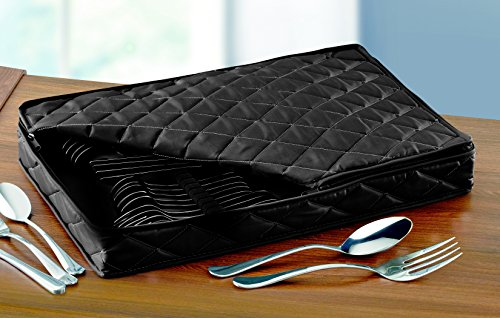 (LAMINET Deluxe Heavy-Duty Quilted Flatware Storage Case - Holds Service for 12 - BLACK)