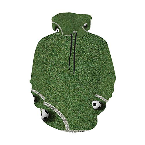 Sports Decor Simple Hoodie,Soccer Ball in Corner Kick Position Football Field top View Grass Lawn Terrain for Work,XL (Soccer Position By Numbers In The Field)