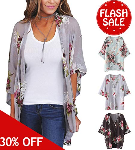 Women's 3/4 Sleeve Floral Kimono Cardigan, Sheer Loose Shawl Capes, Chiffon Beach Cover-Up, Casual Blouse Tops (B-Lavender Gray, -
