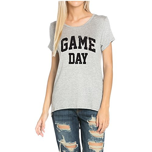 Light So Shine Game Day Womens Scoop Neck Short Sleeves Top With Low and High Sweep(NT6123-346) (Small, Grey)