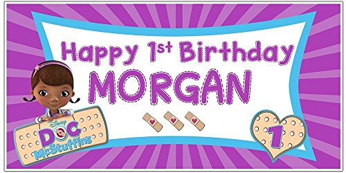 Personalized Doc Mcstuffins Birthday Banner (Doc McStuffins Birthday Banner Personalized Party Backdrop)