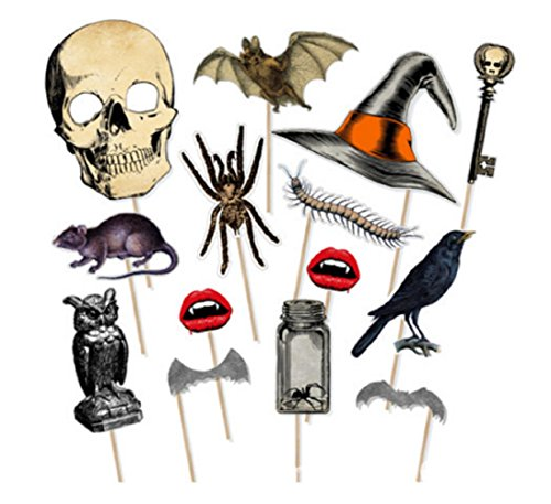 Sharlity 15 Pcs Halloween Photo Props Funny for Halloween Party Favors