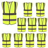 ZOJO High Visibility Reflective Vests,Adjustable Size,Lightweight Mesh Fabric, Wholesale Safety Vest for Outdoor Works, Cycling, Jogging, Walking,Sports - Fits for Men and Women (10 Pack, Neon Yellow)