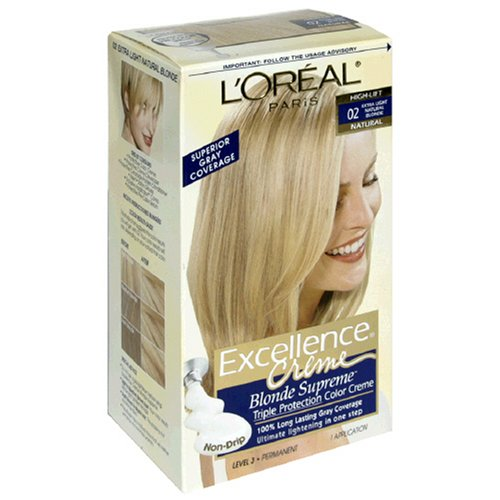 - L'Oreal Excellence Blonde Supreme Triple Protection Color Creme, Extra Light Natural Blonde, High Lift 02 (Pack of 3)