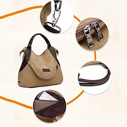 Handbag Hombro A la Lona Retro del la de del Las Mujeres Mensajero Bolso Bolso de Capacidad Diagonal 1 Bolso 5 Color de de Grande la Capacidad Sola rqgarvw