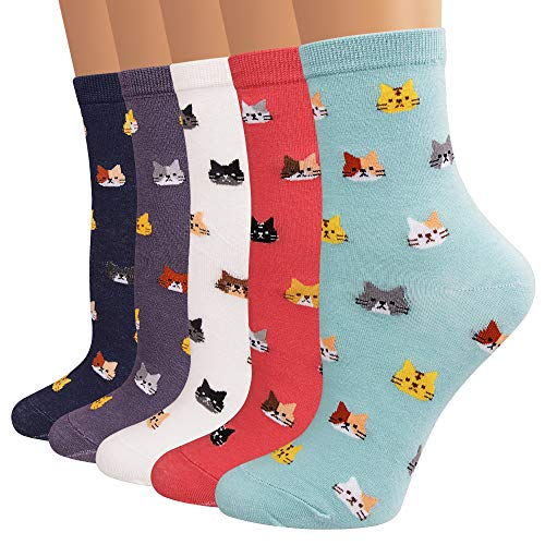 Ambielly Funny Socks 6 Pairs Women Colorful Fancy Design Soft & Stretchy Novelty Socks (Patterned A)