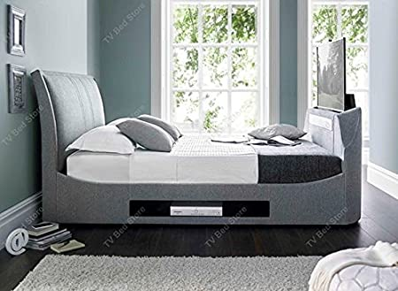 King Size Maximus Grey Fabric Multimedia TV Bed Frame *Exclusively ...