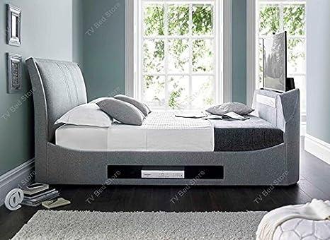 Tv In Bed : Amazon king size maximus grau stoff multimedia tv bett rahmen