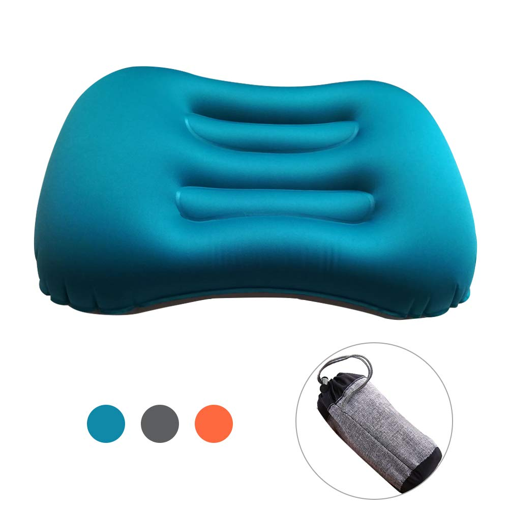 Wishesport Camping Pillows, Ultralight Inflatable Soft Flock Pillows with Head and Neck Support for Travel Hiking Outdoor Backpacking (Blue)