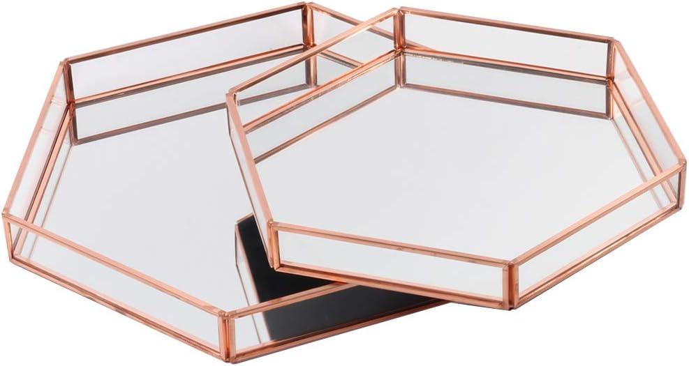 Amazon Com Koyal Wholesale Glass Mirror Hexagonal Trays Vanity