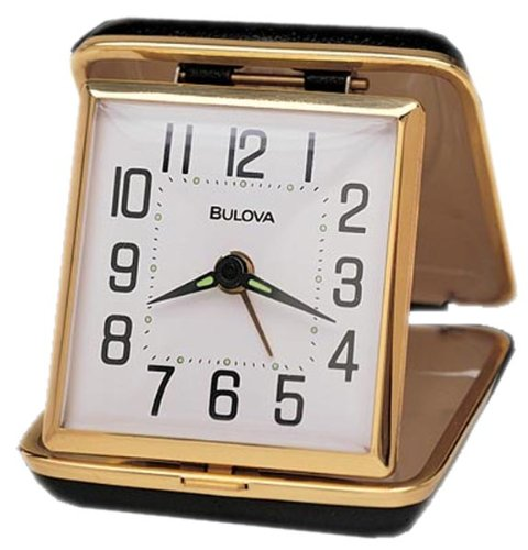 Bulova B6112 Reliable II Clock, Black Case - Bell Key Wind Alarm Clock