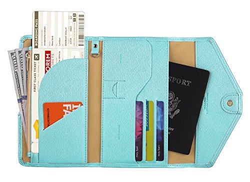 Zoppen Multi-purpose Rfid Blocking Travel Passport Wallet (Ver.4) Tri-fold Document Organizer Holder (#29 Aqua Blue (2018 New))