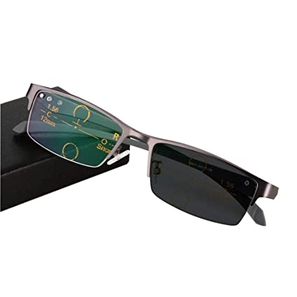Gafas de Lectura Masculinas y Femeninas Espejos Planos, Protección UV Decoloracion transicional Gafas de Sol, Partición Superior e Inferior Gafas de ...