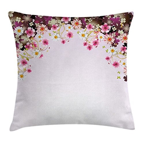 Ambesonne Floral Throw Pillow Cushion Cover, Daisy Bouquet Botany Petals with Butterfly Wedding Valentines Romance Design, Decorative Square Accent Pillow Case, 20 X 20 Inches, Light Pink Purple Daisy Wedding Cover