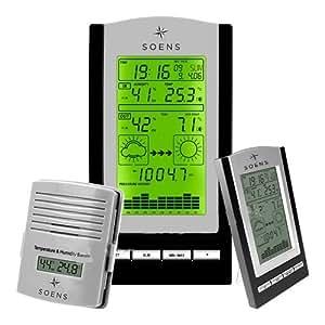 Estación meteorológica por radio Soens con termómetro higrómetro Barómetro RCC Radio Reloj 148408