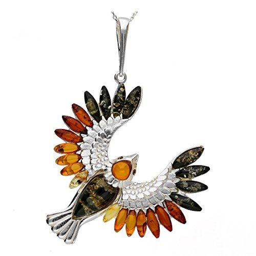 BALTIC AMBER GEMSTONE & STERLING SILVER 925 BEAUTY BIRD PENDANT, KAB-337 by KAB