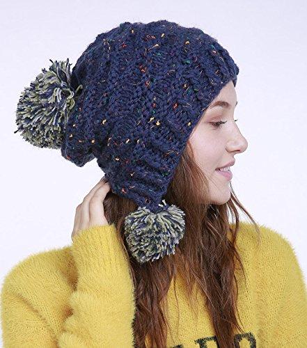 Chapeau Acvip En Bleu Bonnet Pompon Femme De À Laine Fil D'hiver rxg8r6q