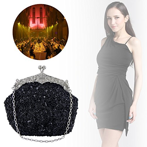 Shoulder Bagood Handbag Women's Purses Beaded Sequin for Bag Flower Black Clutches Evening Seed Bags Bridal Prom Party Wedding Vintage CYBx0rqwB