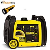 Toucan City LED flashlight and Champion Power Equipment 3150-Watt Gasoline Powered Recoil Start Inverter Generator with Champion 171cc 4-Stroke Engine 100476