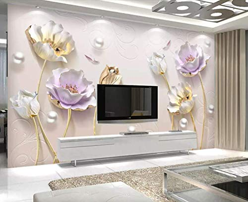 Murwall 3D Embossed Floral Wallpaper Tulip Flower Wall Mural Soft Blossom Wall Art Classic Home Decor Cafe Design Entryway