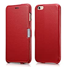 Benuo [Luxury Series] Genuine Leather Case with Magnetic Closure, [Minimalist Design] Case for iPhone 6 / iPhone 6s - (Red)