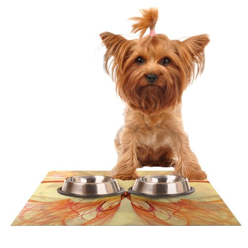 Kess InHouse Alison Coxon Papillon  Feeding Mat for Pet Bowl, 24 by 15