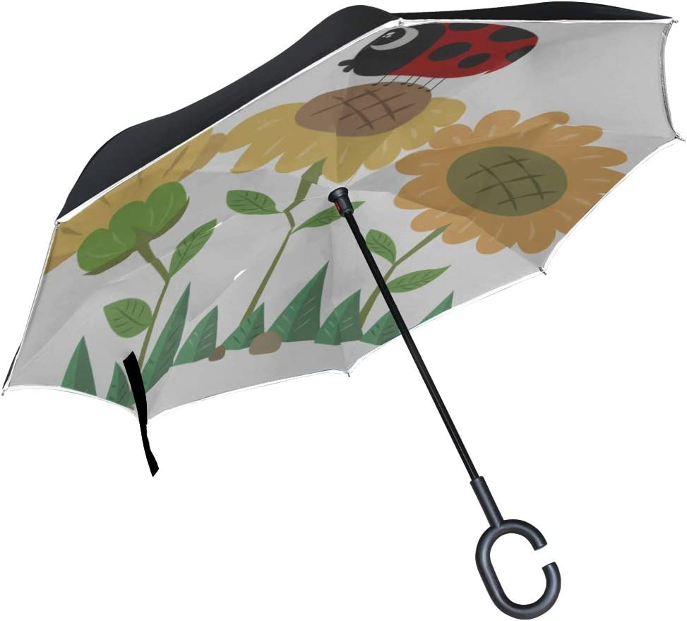 Double Layer Inverted Inverted Umbrella Is Light And Sturdy Sunflower Ladybird Cute Ladybug Reverse Umbrella And Windproof Umbrella Edge Night Reflec
