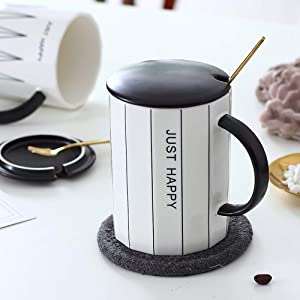 Ceramic Mug Coffee Cup Set - Watershed Creative Home & Office Tea Cup Coffee Mug Set with Lid and Stainless Steel Teaspoon, Gifts for Friends and Family, 12oz/380ml (Straight Grain)