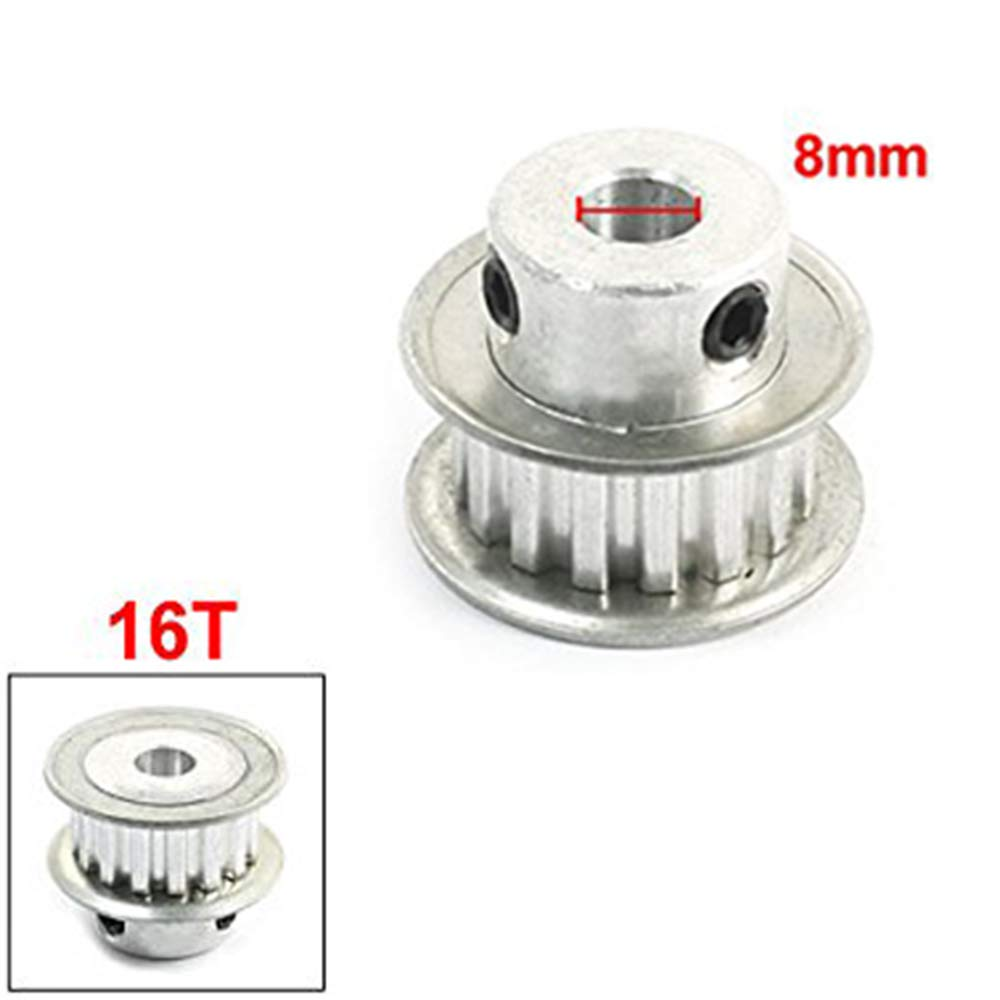 ZYHW XL Type 8mm Bore 5mm Pitch 11mm Belt Width 16-Tooth 16T Silver Tone Aluminum Alloy Flanged Groove Timing Pulley for Stepper Motor