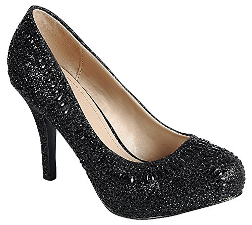Cambridge Select Womens Closed Almond Toe Glitter Crystal Rhinestone Stiletto High Heel Dress Pump Black qnZwzJW