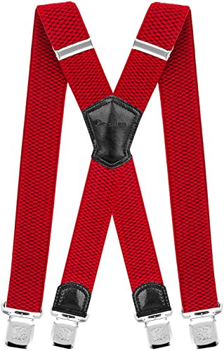 Decalen Mens Suspenders Very Strong Clips Heavy Duty Braces Big and Tall X Style (Red) -