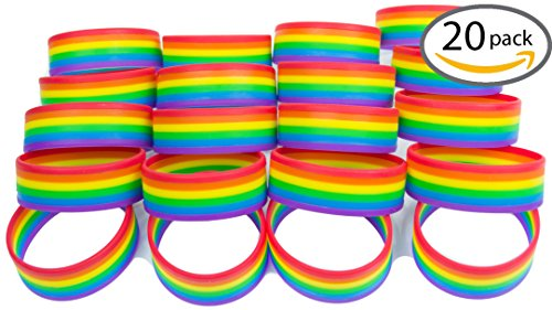 Premium Quality Silicone Rainbow Bracelets (Assorted Quantities) - 20 Pack of Wristbands