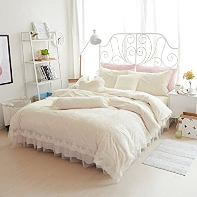 DACHUI Bed sheets - Crystal Laine 1800 beds fade, stain resistant - Hypoallergenic - 4 units (Wind) - a queen bed skirt - Princess 1.