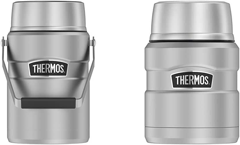 Thermos Stainless King 47 Ounce Vacuum Insulated Food Jar with 2 Inserts, Stainless Steel & Stainless King 16 Ounce Food Jar with Folding Spoon, Stainless Steel