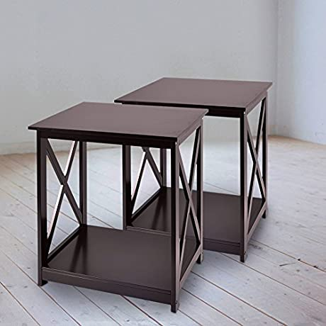 Cozylifeunion End Side Table Night Stand Accent Table With Shelf Storage Chairside Table Home Furniture X Design 25 High Set Of 2