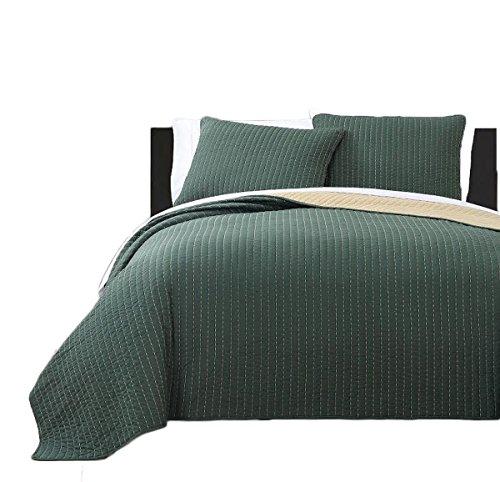 Reversible Modern Project Runway Coverlet, Super Soft Elegant Quilt & Shams Set/Full/Queen - Forest Green & Gold ()
