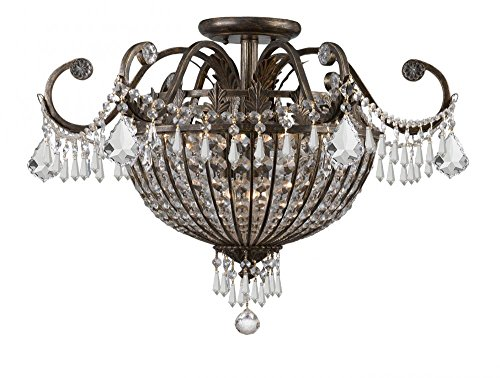 English Bronze Crystal Six Light Chandelier from The Vanderbilt Collection
