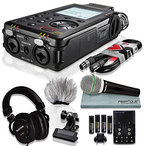 Tascam DR-100mkIII Linear PCM Recorder and Deluxe Bundle with Microphone+ Clip Clamp+Headphones+ Cable+ 32GB+ Fibertique Cloth+More ()