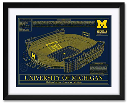 Northwest Art Mall Michigan Football Stadium School Colors Michigan Wolverines Framed & Matted Hand-Drawn by Robert Redding. Print Size: 17