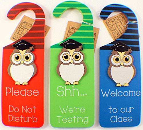 Hanna's Handiworks Teacher Wooden Door Hanger Signs Shhhh.Testing, Do Not Disturb, Welcome 64662