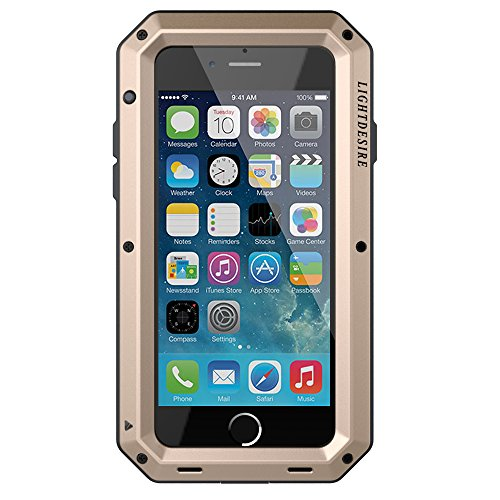 iPhone 7 Case, iPhone 8 Case LIGHTDESIRE [Newest] Aluminum Protective Metal Extreme Water Resistant Shockproof Military Bumper Heavy Duty Cover Shell for iPhone 7/8 - Gold