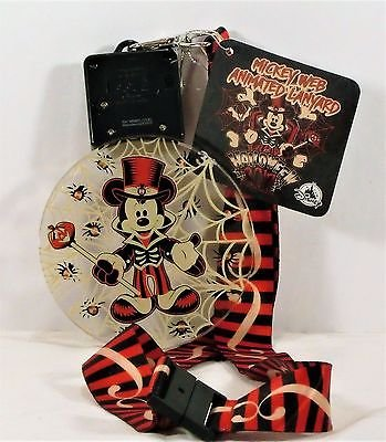 New Disney Parks 2017 Halloween Mickey Web Animated Light Up Flashing Necklace Lanyard -