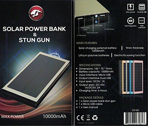 Diamondback Solar and USB Rechargeable Stun Gun 10,000 mAh Power Bank Phone Charger - Gun Diamondback
